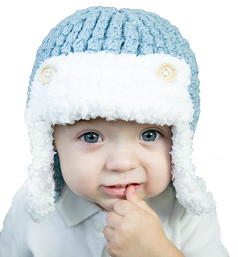 Huggalugs Baby and Toddler Boys Blue Aviator Beanie Hat S