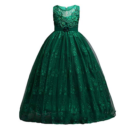 Girls Emerald Green - HUANQIUE Girl Floor Length Pageant Bridesmaid Dress Tulle Flower Girl Ball Gown Green 9-10 Years