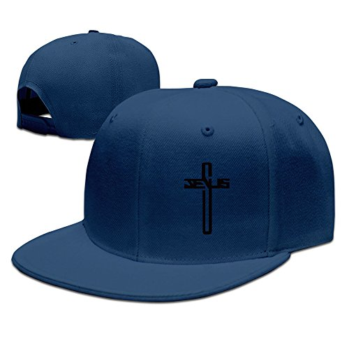 Casual Men Women Christian Jesus Cross Flat Ajustable Snapback Cap Navy from TTHDK-OON