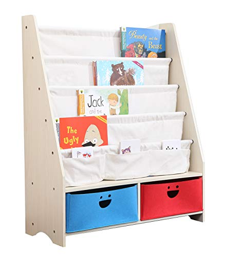 SEIRIONE Kids Book Rack, 4 Sling Bookshelf, 2 Storage Boxes and Toys Organizer Shelves, 1 Year Warranty
