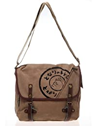 My Neighbor Totoro Canvas Messenger Bag with Leather Buckle - Brown