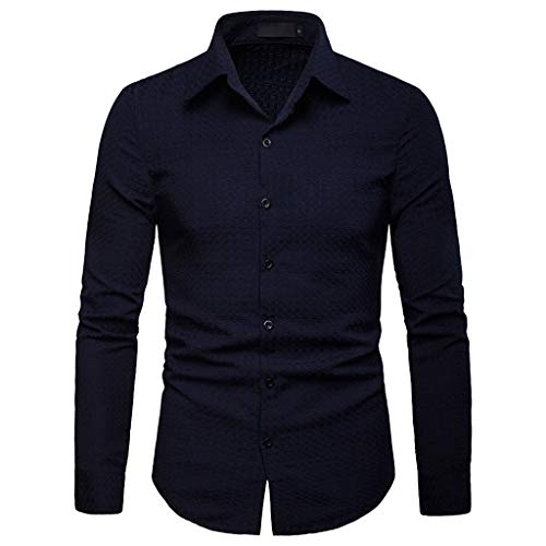 YOcheerful Mens Solid T Shirt, Men Long Sleeve Workwear Shirt Top Blouse Sexy Work wear