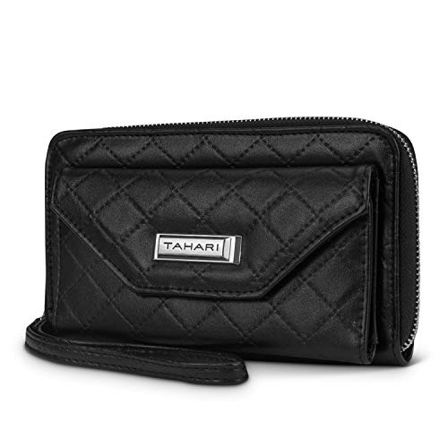 Quilted Checkbook Cover - Tahari Trendsetter Womens Wallet Vegan Leather Zip Around RFID Blocking Clutch Organizer With Wristlet (Black (Quilted))