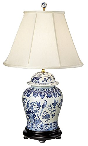 Lamp Porcelain Jar Ginger (English Floral Hand-Painted Porcelain Ginger Jar Table Lamp)