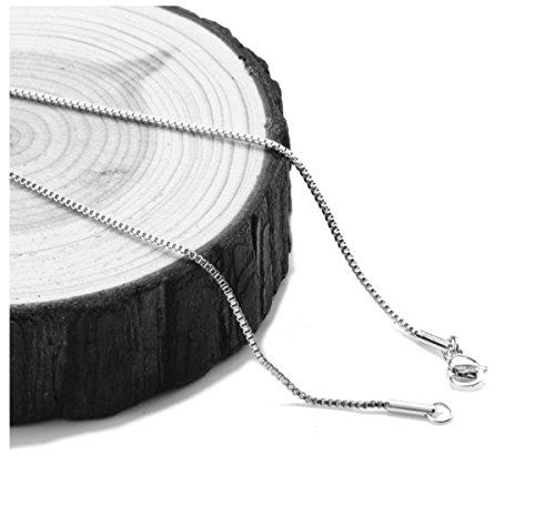 Gold Chain Necklace 1mm Diamond Cut 18karat White Gold Box Chain Suitable For Men/Women USA Product! (30)