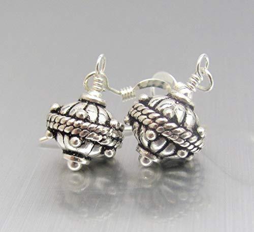 Oxidized Sterling Silver Earrings Bali Design Dangle Drop Hawaiibeads Jewelry