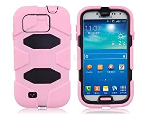 ISSEC Hard Plastic & Rubber Protective Case with Removable Clip for Samsung Galaxy S4/i9500(Pink)