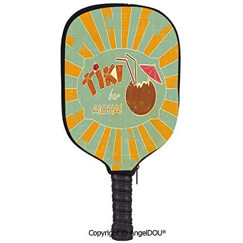 (AngelDOU Tiki Bar Decor Premium Neoprene Pickleball Paddle/Racket Cover Vintage Design Exotic Cocktail Aged Look Aloha Fun Party Decorative Holder Sleeve Bag Accessories.Orange Almond Green Brown)