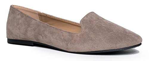Classic Slip On Loafer - Women's Comfortable Low Flats - Diana Casual Penny Loafer Comfort Walking Shoe, Taupe, 8.5 B(M) US