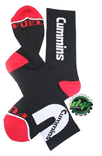 (dodge cummins diesel tube socks pair black red)