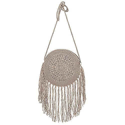 Sherry Women Crochet Fringed Shoulder Bag Cotton Tassel Crossbody Bag Hippie Beach Purse Grey