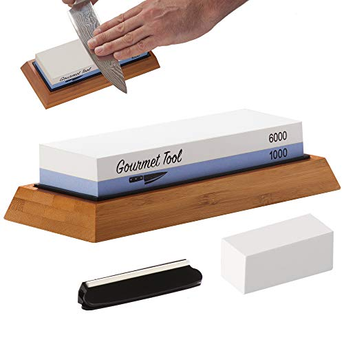 Professional Knife Sharpening Stone - Two Grit 1000/6000 Whetstone - Kitchen Knife, Chef Knife & Tool Shaping System - Kit Includes Non-Slip Bamboo Base, Angle Guide, Flattening Stone and Instructions