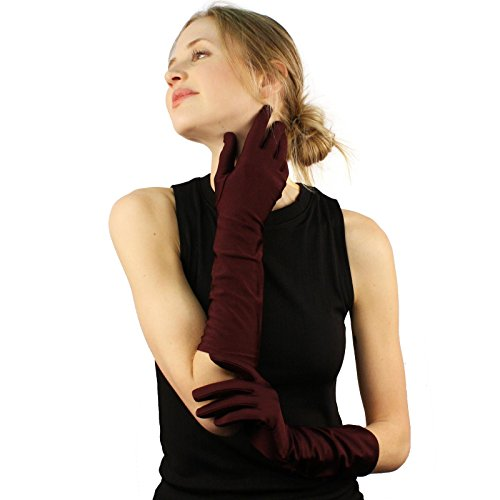 Elegant Satin Matte No Shine Stretchy Dressy Evening Below Elbow Gloves Plum