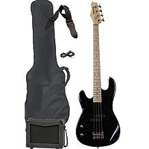 Davison Guitars BASS235LH LEFT BK PKG Left Hand Full Size Electric Bass Guitar Starter Beginner Pack with Amp Case Strap Package, Black