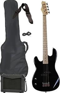 left hand full size electric bass guitar starter beginner pack with amp case strap. Black Bedroom Furniture Sets. Home Design Ideas