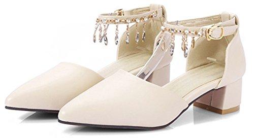 SHOWHOW Pendant Toe Rhinestone Beige Pointed Buckle Fashion Pump Womens fznOwqrf