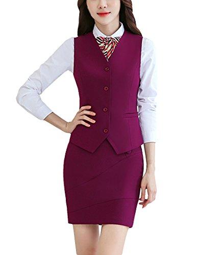 MFrannie Women Button Down Vest and Skirt Formal Work 2 Pieces Suit Set Deep Purple XL