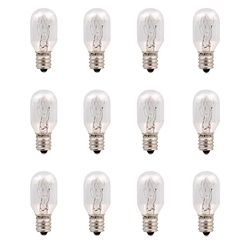 12 Pack-15 Watt Salt Lamp Bulbs Incandescent E12 Socket Candelebra Original Replacement Light Bulbs