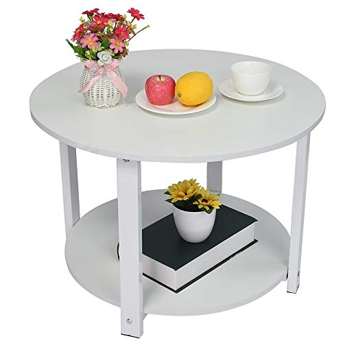 (Pjjfmcbom Round Double Layer Night Table for Bedroom, Living Room Coffee Telephone Table,Advanced Plate Sofa Side Table Waterproof Wooden Household Essentials (White, Double Layer))