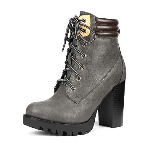 Heel Womens Booties Chunky - DREAM PAIRS Women's Earth Grey Chunky Heel Ankle Bootie Size 9.5 B(M) US
