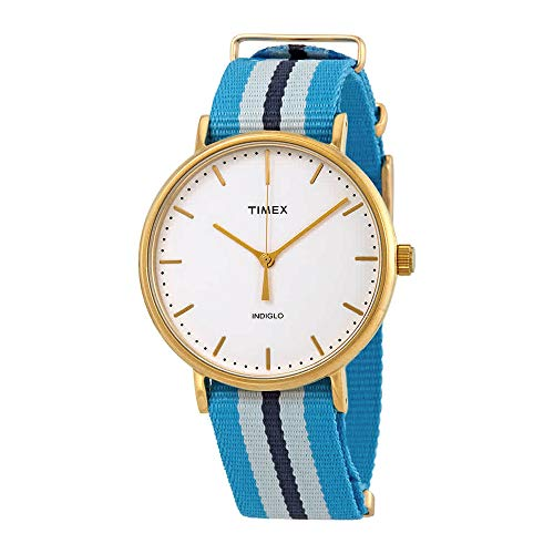 Timex Fairfield White Dial Unisex Blue Nylon Watch TXW2P91000