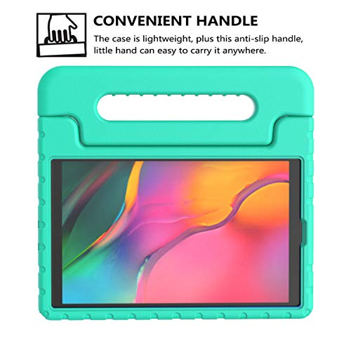 BMOUO Kids Case for Samsung Galaxy Tab A 10.1 (2019) SM-T510/T515, Shockproof Light Weight Protective Handle Stand Kids Case for Galaxy Tab A 10.1 Inch 2019 Release SM-T510/T515 - Turquoise