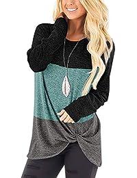 Womens Casual Tunic Tops Twist Knot Pullover Sweatshirts