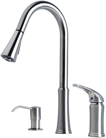 Laguna Brass 1171SS 16 Single Handle Pull-Down Kitchen Faucet With Soap Dispenser, Stainless Steel Finish