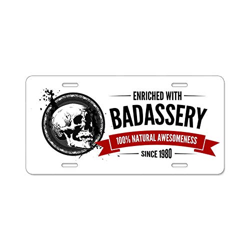 AhuiA-Enriched with Badassery Since 1980 Gifts Custom Personalized Aluminum Metal Novelty License Plate Cover Front Auto Car Accessories Vanity Tag- 6x12 Inches -