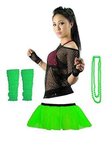 Rush Dance 80s Fancy Costume Set – Tutu, TOP, Leg Warmer, Fishnet Gloves & Beads (One Size, Lime & Black Top) ()