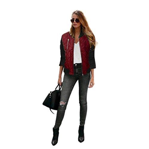 FEITONG Escudo manera de las mujeres la algodón chaqueta del foso Parka Outwear Cardigan Vino
