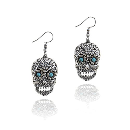 Antiqued Silver Sugar Skull Drop Earrings with Flower and Turquoise Eyes [Dia De Los Muertos]