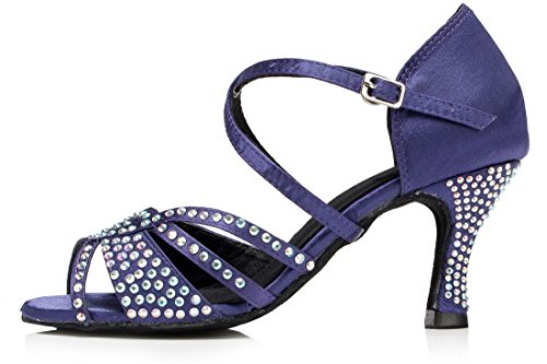 Tda Mujeres Tobillo Correa Flared Heel Open Toe Cristales Satén Salsa Rumba Latin Dance Zapatos De Boda Púrpura Azul