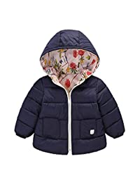 Willsa Baby Girls Jacket, Hooded Coat Floral Jacket Thick Warm Outerwear Clothes