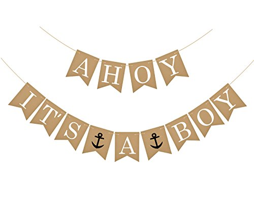 Famoby AHOY IT'S A BOY Anchor Banner for Baby shower Party Decorations ()