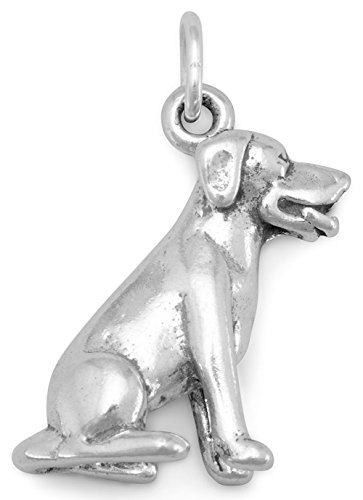 Charm Silver 3d Dog Sterling - Sterling Silver Charm, 3D Sitting Labrador Dog Breed, 3/4 inch tall