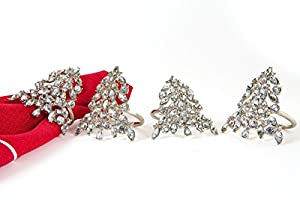 Shimmer Jeweled Christmas Tree Silver Metal Napkin Rings Set of 4 - Festive and sparkly for a holiday table setting