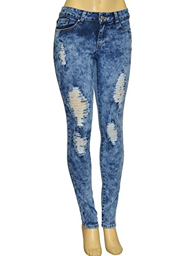 Alfa Global Juniors Low-Rise Distressed Skinny Acid Wash Denim Jeans