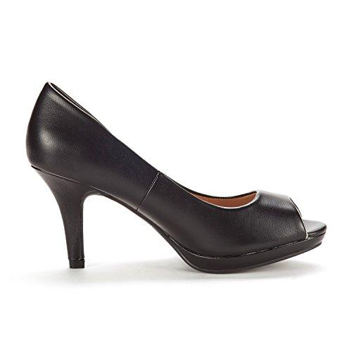 DREAM PAIRS Women's City_OT Black PU Fashion Stilettos Peep Toe Pumps Heels Shoes Size 9.5 B(M) US by DREAM PAIRS (Image #1)