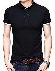 07b22c43d KUYIGO Men s Casual Slim Fit Shirts Pure Color Short Sleeve Polo Fashion T- Shirts