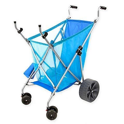 Seina All-Terrain Beach Cart Wheeler with Big Wheels for Sand | All Terrain Cart, Wide Wheels, Cart for Beach, Beach Caddy, Beach Trolley, Large, Para la Playa, Sand Cart, Collapsable, Compact, | Blue