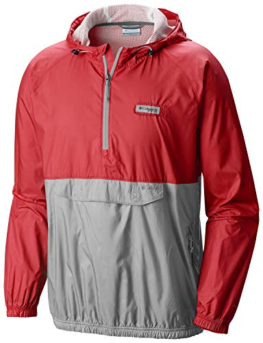 - Columbia PFG Terminal Spray Anorak 1/4 Zip Hooded Pullover Medium Red/Grey