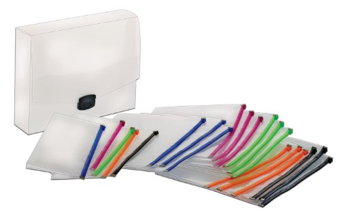 Globe-Weis/Pendaflex Poly Zip Files, 15 Letter Size, 5 Check Size, Assorted Colors (84200) ()