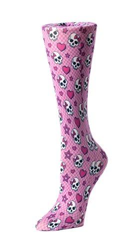Cutieful Women's Nylon 8-15 Mmhg Compression Sock Pink Skulls - Pink Skull Knee Socks