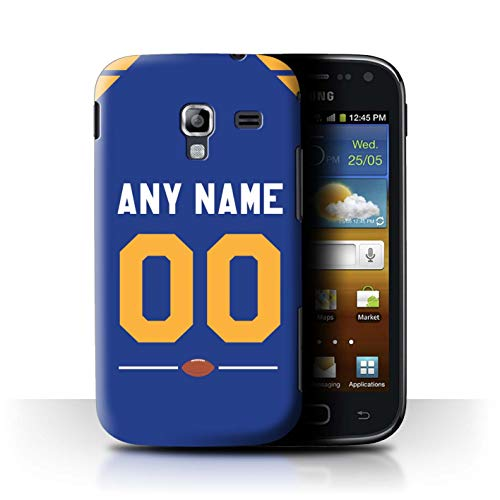 Personalized Custom American Football Jersey Case for Samsung Galaxy Ace 2/I8160 / Blue/Yellow Gold Design/Initial/Name/Text DIY Cover (Case Galaxy Samsung 2 I8160 Ace)