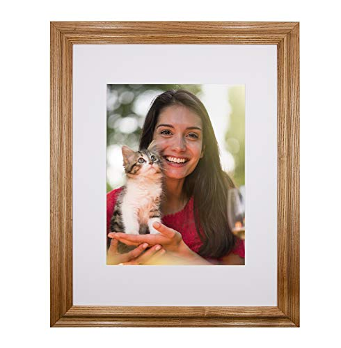 New 16x20 Picture Frame - Light Oak Ash Hardwood w/Mat for Family & Friends Photos, 2 Inch Wide Molding - Hand Made in USA by Northern