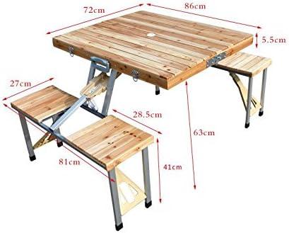 mccoutdoor portátil mesa plegable y sillas Madera Maleta Juego de ...