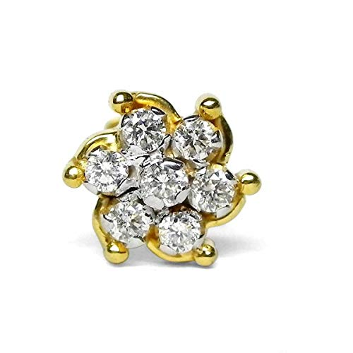 14K/ 18K Gold 0.12CT Natural Diamond Hallmark Nose Pin Nose Stud Jewelry- Customize Rose, Yellow or White Gold