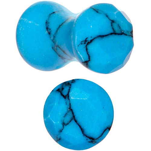 Body Candy Turquoise Natural Stone Saddle Plugs 4 Gauge Set of 2 ()