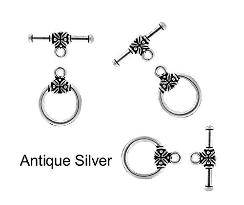 (4 sets Large Leaf Toggle Clasp for Jewelry Making TVT-6054 (Antique Silver))